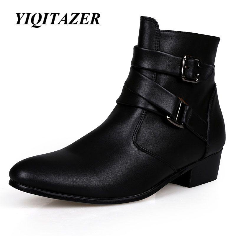 Yiqitazer 2017 nueva moda tobillo motocicleta Botas hombres, suelas de goma punta estrecha pu vaquero Zapatos hombre Militar Botas negro blanco