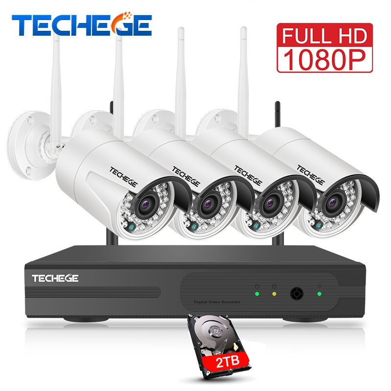 Techege 4CH Surveillance 1080P NVR 1080P WIFI IP Camera 2.0MP wireless kit WiFi Camera CCTV System P2P onvif CCTV camera system