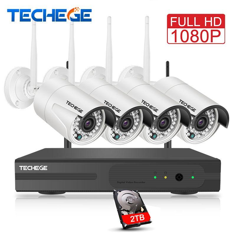 Techege de Surveillance 4CH 1080 P NVR 1080 P WIFI IP Caméra 2.0MP sans fil kit WiFi Caméra CCTV Système P2P onvif CCTV caméra système