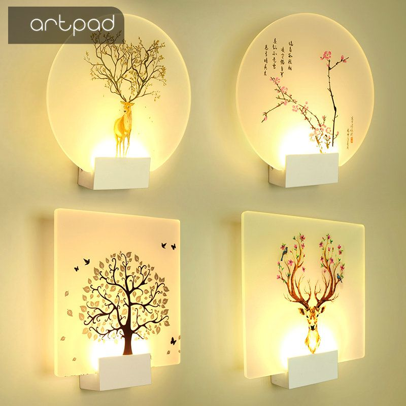 Artpad Modern Loveliness Romantic Picture Classic Wall Lamp for Bedside Bedroom Stair Corridor Porch Nordic Home LED Lighting