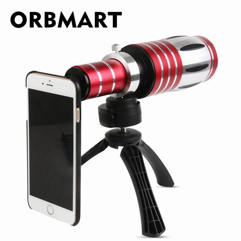 ORBMART 50X Zoom optique en aluminium téléobjectif télescope + trépied arrière étui pour iphone 6 6 s 6 s Plus Samsung S6 S5 S4 Note 4 3