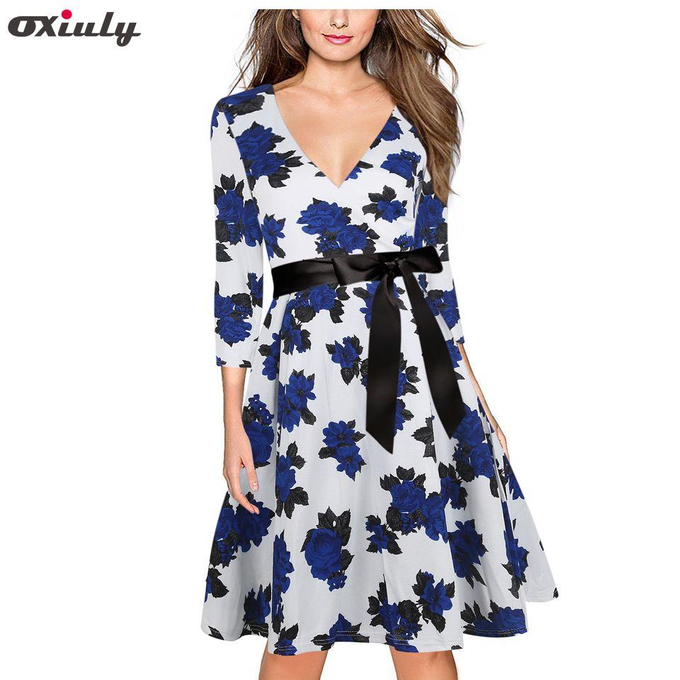 Oxiuly Bleu Fleur Imprimer V Robe Dos Femmes Lâche 2017 Nouveau automne Robes Col En V Vintage Robe Cadrage Une Ligne Floral robe