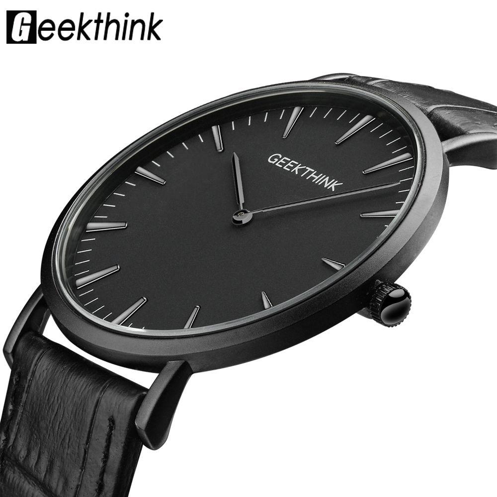 GEEKTHINK Top Brand Luxury Quartz watch men Business Casual <font><b>Black</b></font> Japan quartz-watch genuine leather ultra thin clock male New