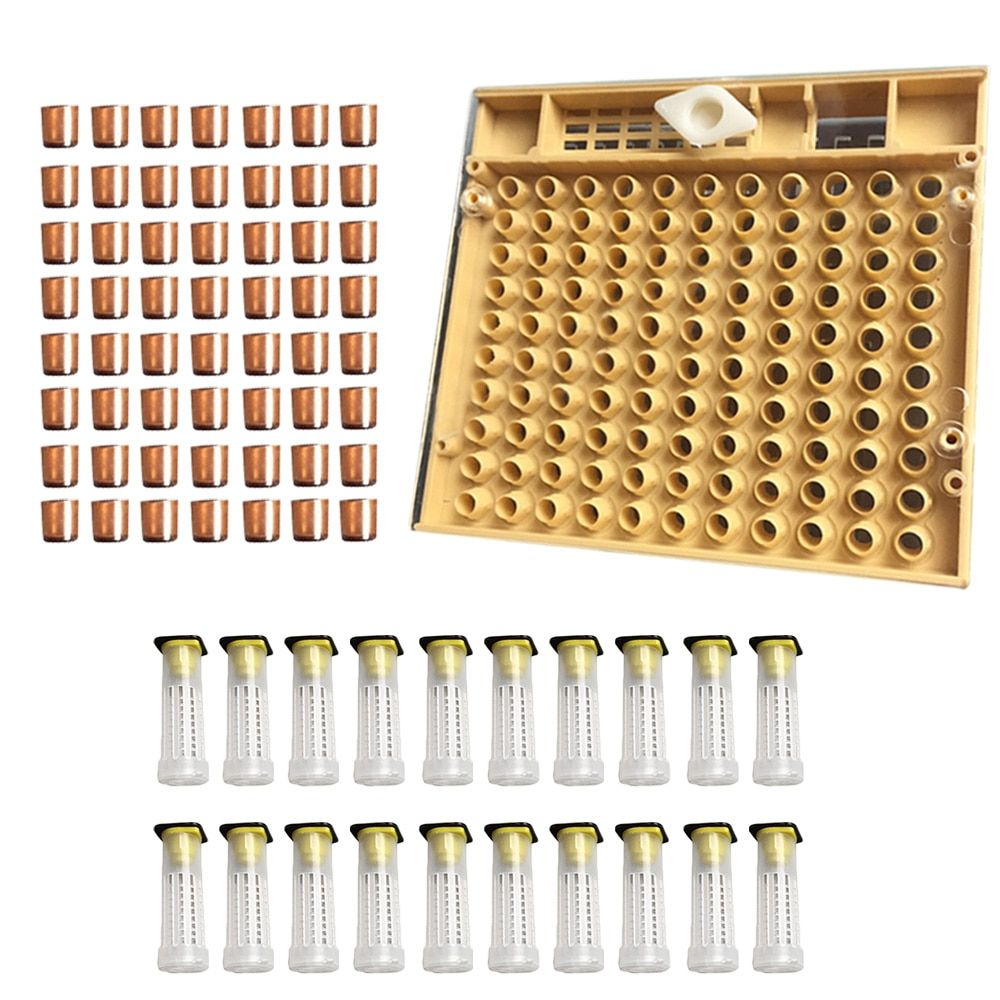 Behokic Beekeeping Tools Equipment Set Queen Rearing System Cultivating Box + 110pcs Plastic Bee Cell Cups Cupkit + Queen Cage