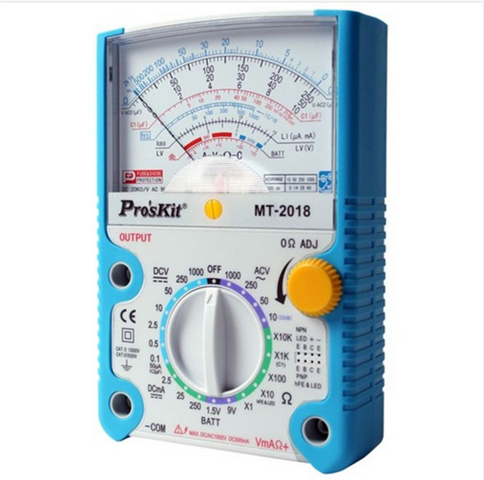 Free Shipping ProsKit MT-2018 Protective Function Analog Multimeter Safety Standard Professional Ohm Test Meter Tester Analog