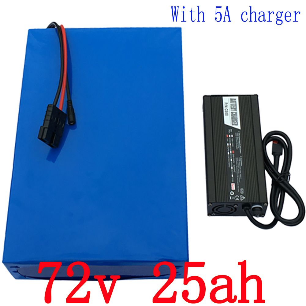 High power 2500W Lithium Battery 72V 25AH e-Bike battery 72V Battery pack Use 3.7V 5.0AH 26650 Cell 50A BMS and 5A charger