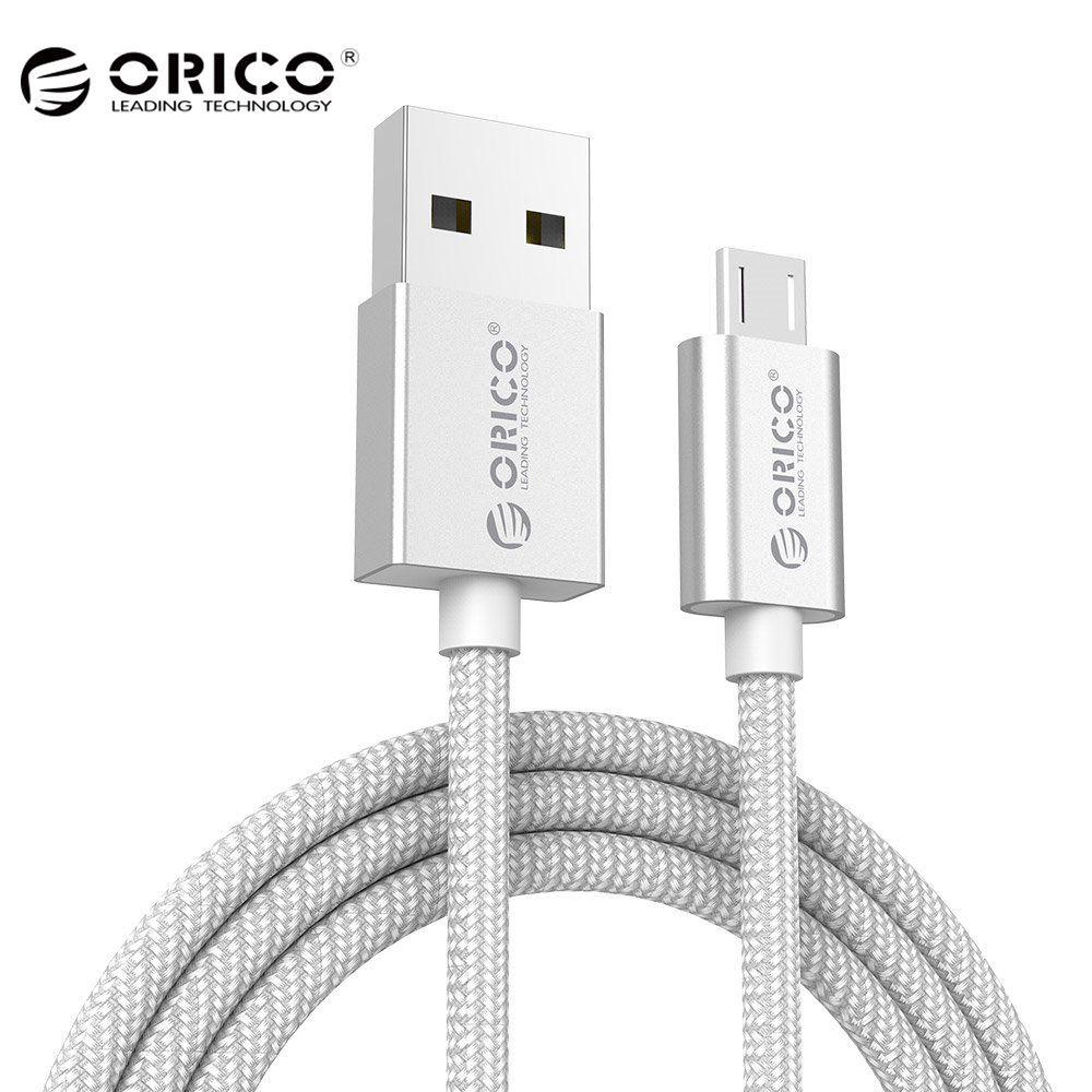 [Großhandel] ORICO Micro USB Kabel USB Daten Ladekabel Nylon Geflochtene Draht Metall Stecker für Samsung Sony HTC 1 meter Silber