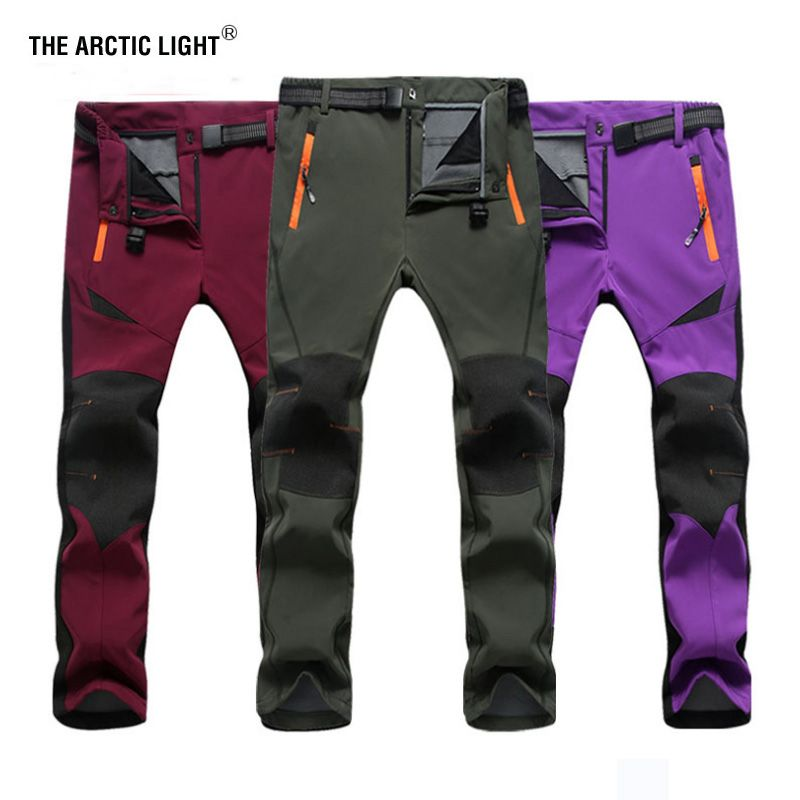 THE ARCTIC LIGHT Outdoor Ski Pants Sofe shell Hiking&Camping Women&Men Sport Fleece Climbing Trousers Men Women Winter Hunting