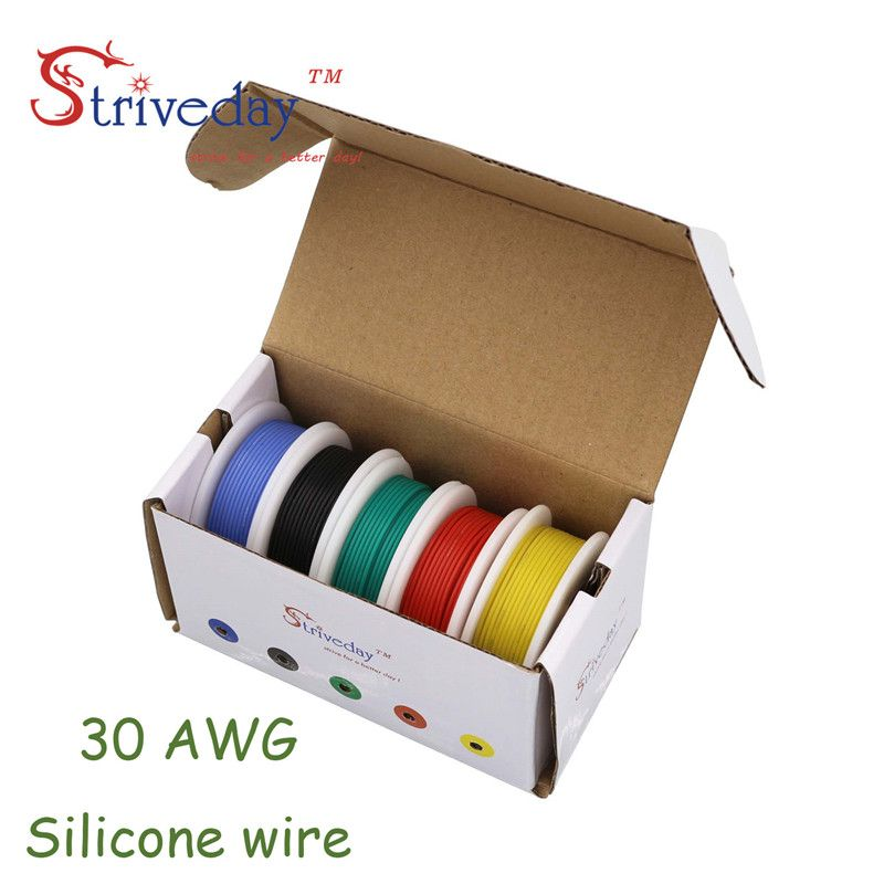50m 30AWG Flexible Silicone Wire 5 color Mix box 1 box 2 Copper Electrical Line RC Cable 30awg 11/0.08TS Outer Diameter 1.2mm