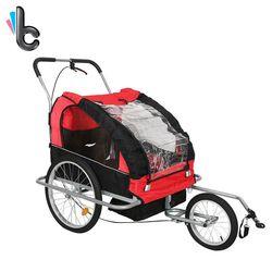 2 Dalam 1 Peliharaan Anjing Sepeda Trailer Trailer Sepeda Stroller Jogging Suspension Merah
