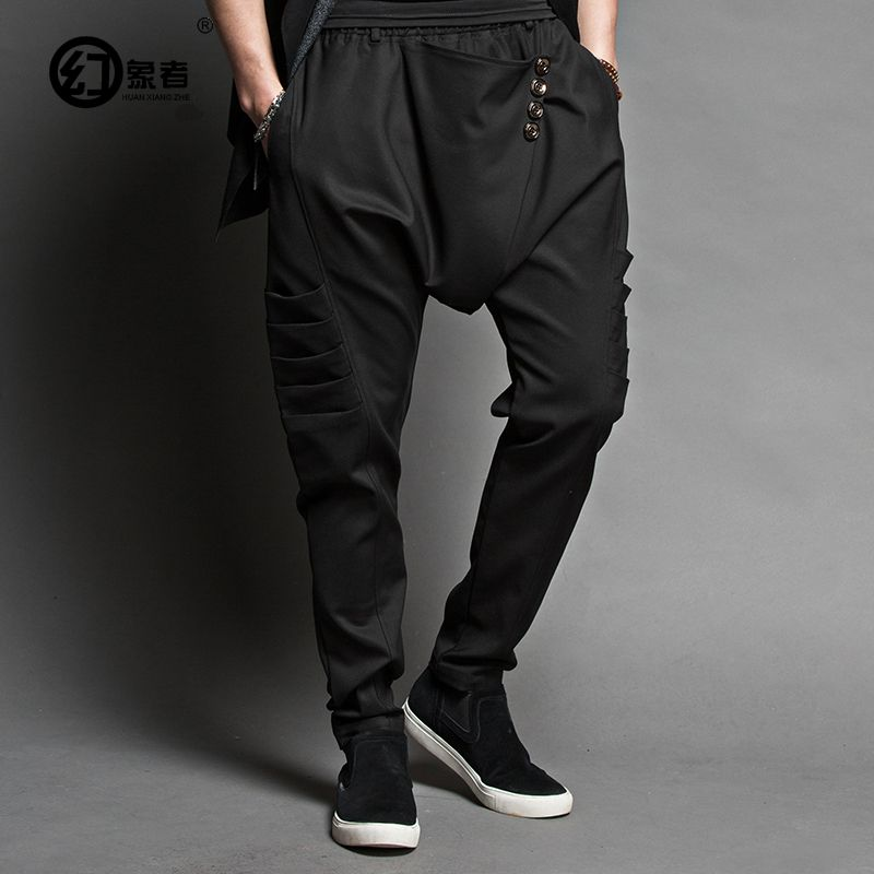 The stylist korean style haroun pants men's leisure foot trousers low loose fork out fork fork pants legs pants
