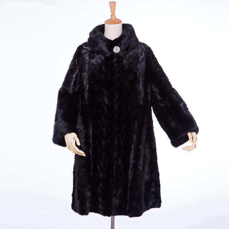 Luxus Echtes Echtes Stück Nerz Pelzmantel Jacke Stehkragen Winter Frauen Pelz Oberbekleidung Mäntel Graben Mantel X-Lange LF4039