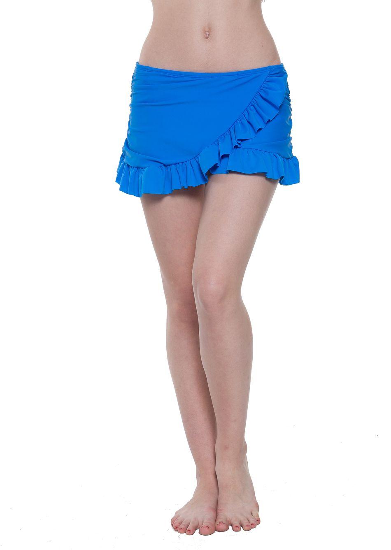 Bonverano(TM) Women's Rouched Ruffle Solid Swim Skirt Blue Cross Flouncing Bikini Bottom Swimwear Beach Dress