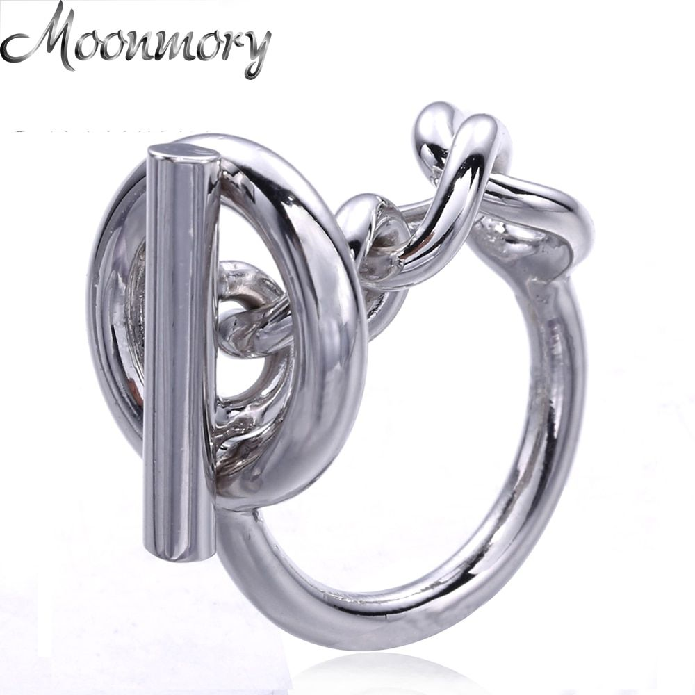 Moonmory 925 Sterling Silver Rope Chain Ring With Hoop Lock For Women French Popular Clasp Ring Sterling Silver Jewelry <font><b>Making</b></font>