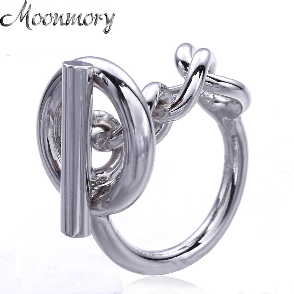 Moonmory 925 Sterling Silver <font><b>Rope</b></font> Chain Ring With Hoop Lock For Women French Popular Clasp Ring Sterling Silver Jewelry Making