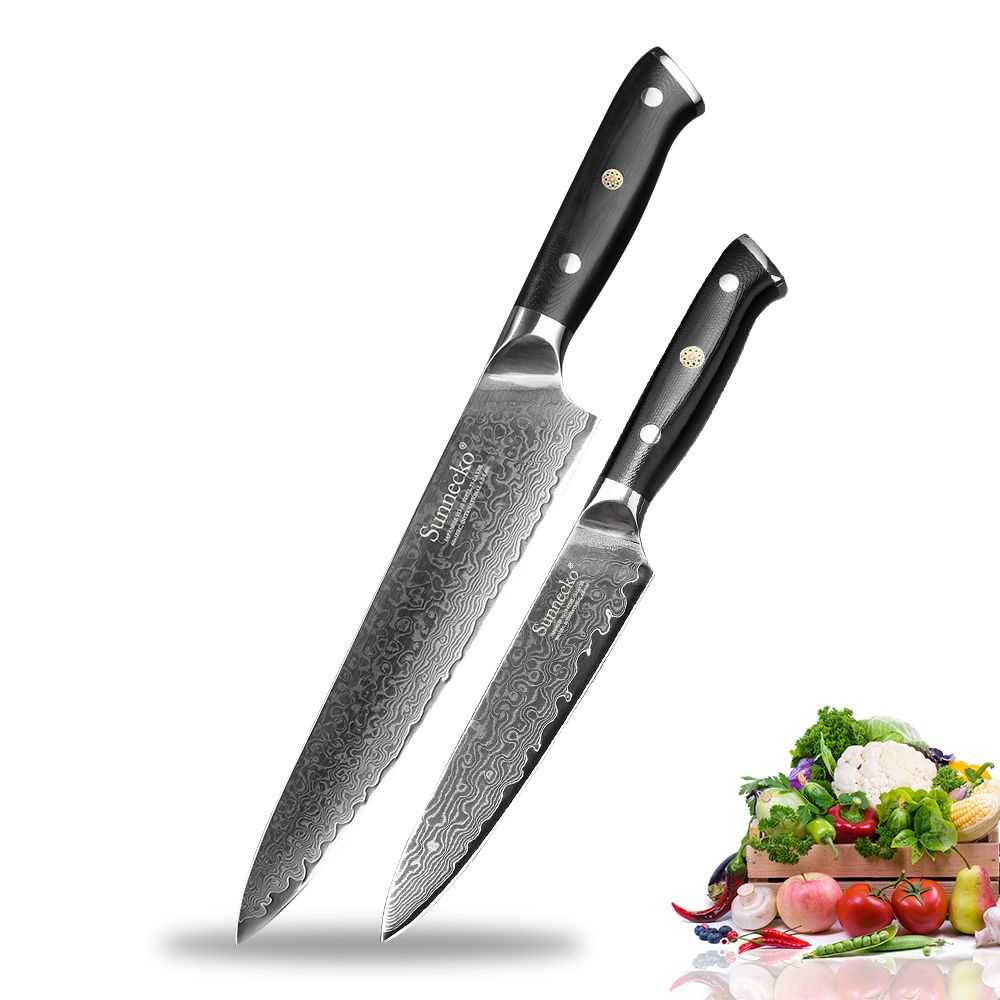 SUNNECKO 2 PCS Küche Messer Set 8 ''Chef 5'' Utility Messer Japanischen VG10 Damaskus Stahl G10 Griff Rasiermesser sharp Kochen Cutter