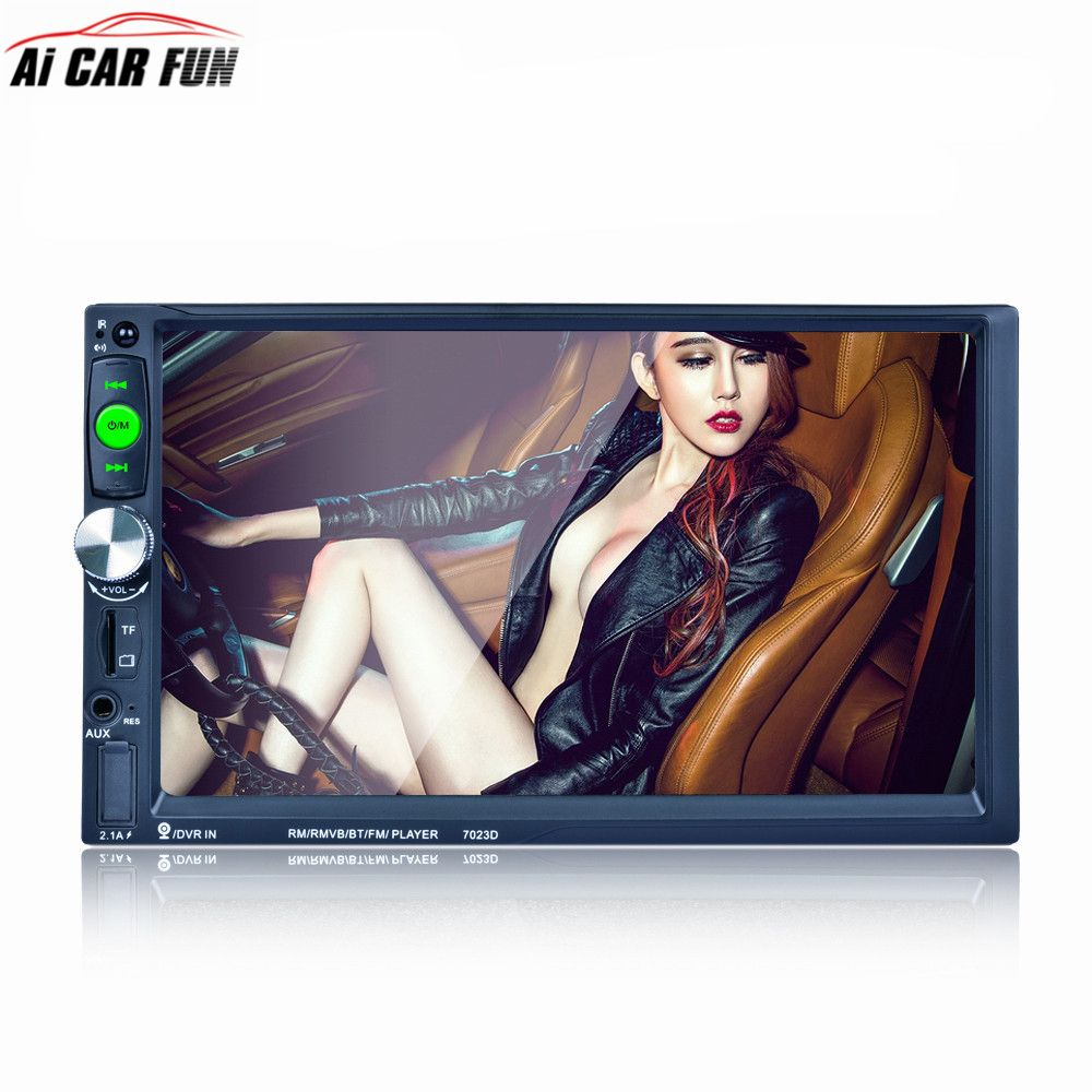 7023D 2Din 7 inch Bluetooth HD Stereo Audio MP5 Card Reader Fast Charge Support Rear View Camera Car Radio Player