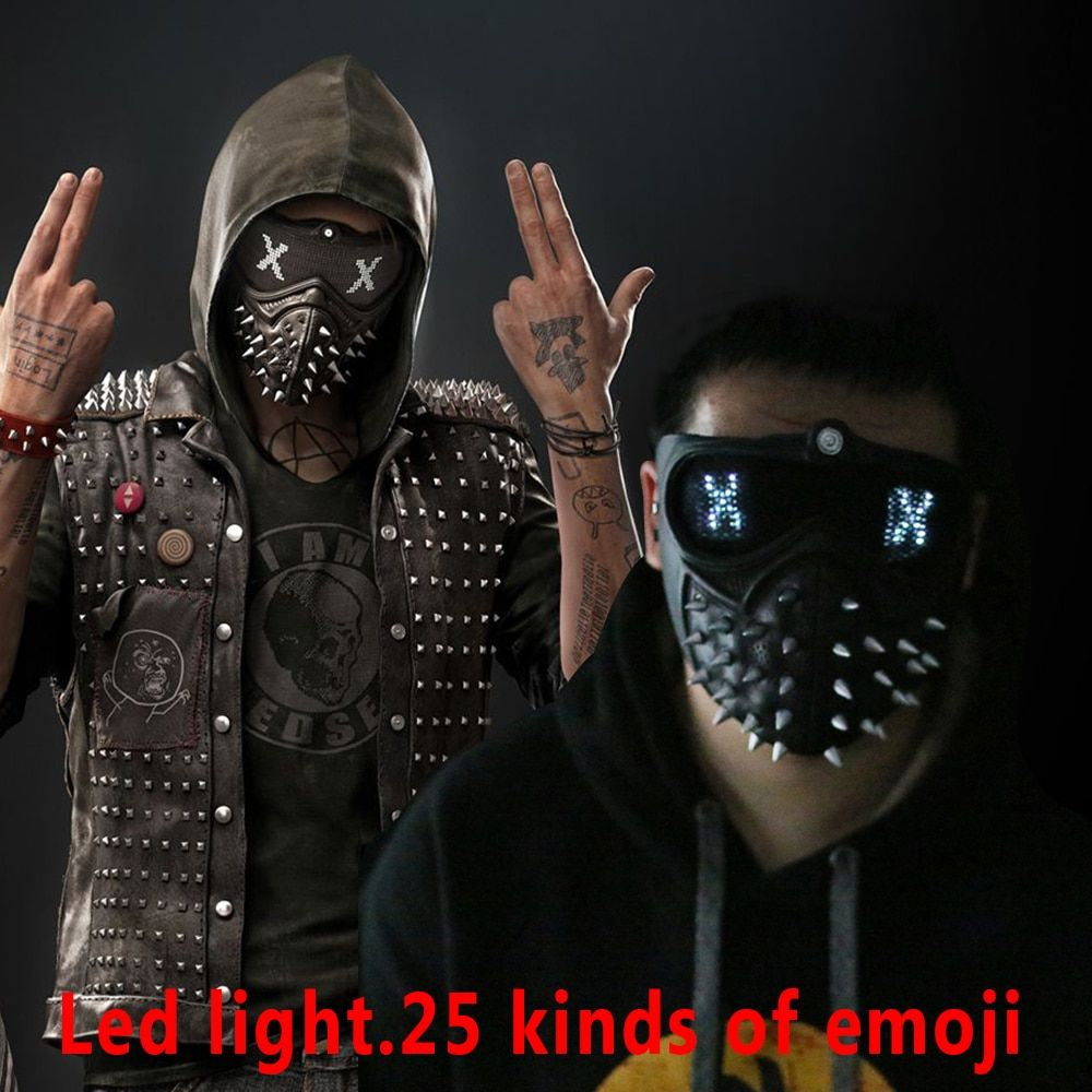 Game Watch Dogs 2 Mask Marcus LED Light Mask Emoji Changeable Holloway Wrench Cosplay Punk Gothic Rivet Face Mask Halloween