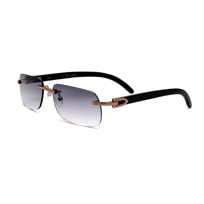 Natural Horn Man Sunglasses UV400 Rimless Rectangle Glasses For Men Vintage Sunglasses With Box,Case Size:58-17-140mm