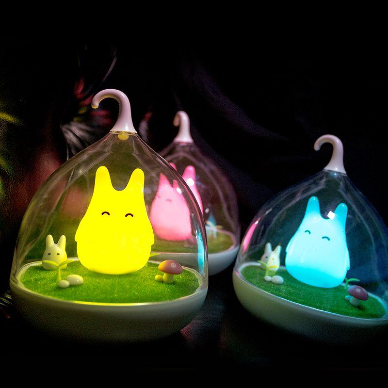 Usine prix nuit lampe Totoro mignon Portable tactile capteur USB LED veilleuses pour bébé chambre sommeil éclairage décoration de la maison