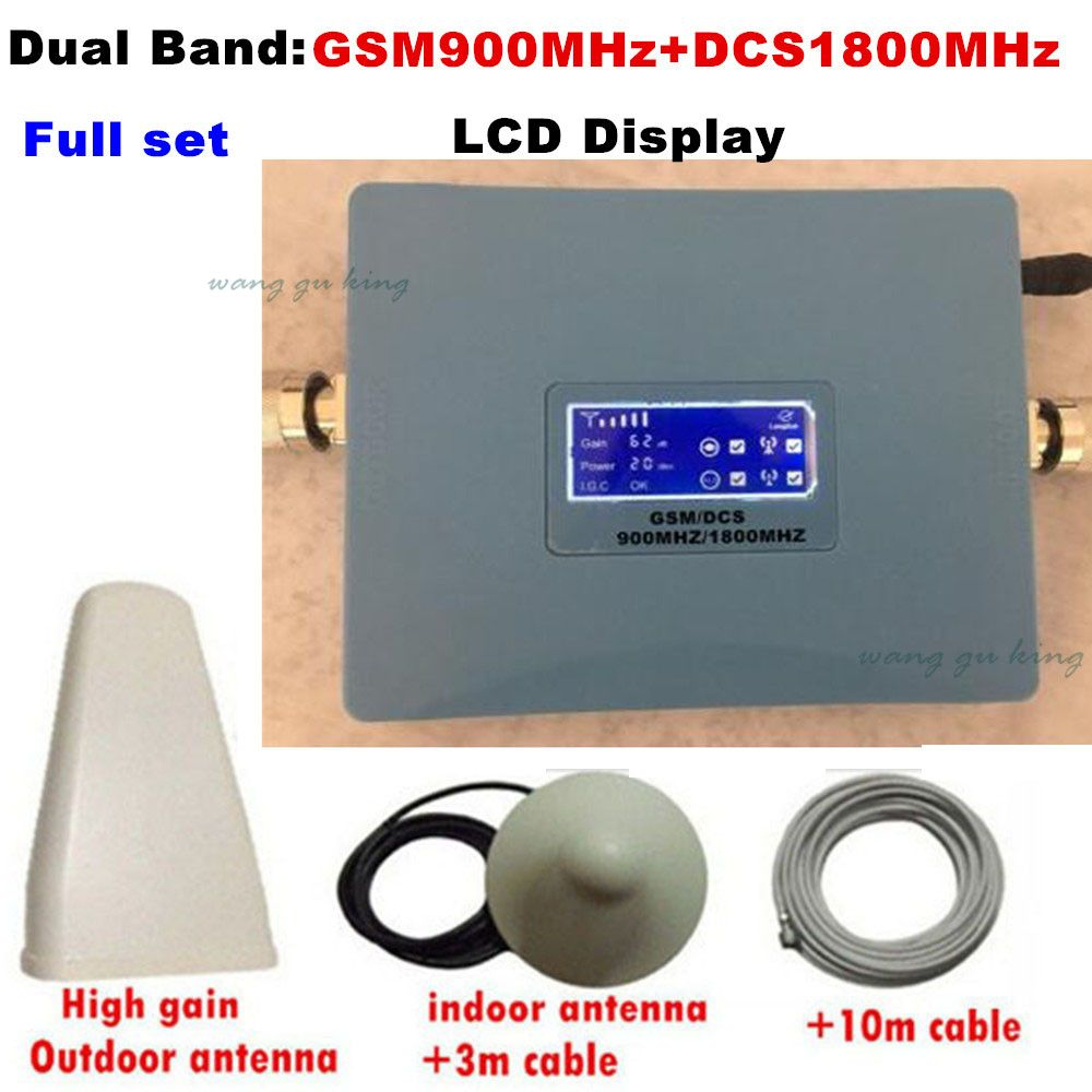 LCD Display Dual Band 4G DCS 1800 MHz + 2G GSM 900 Mhz Handy Signal Booster GSM 900 DCS 1800 Signal Repeater Verstärker 1 Satz