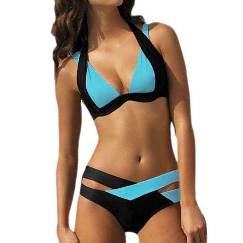 NODELAY Sexy Bikini 2018 Push Up Maillots De Bain Femmes Maillot de Bain Halter Bandage Bikini Ensemble Croix Brésilien Maillot de bain De Bain Maillot XL