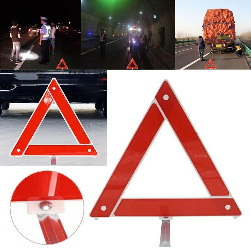 Car Sets Hazard Breakdown Warning Board Red Reflective Triangle Road Sign