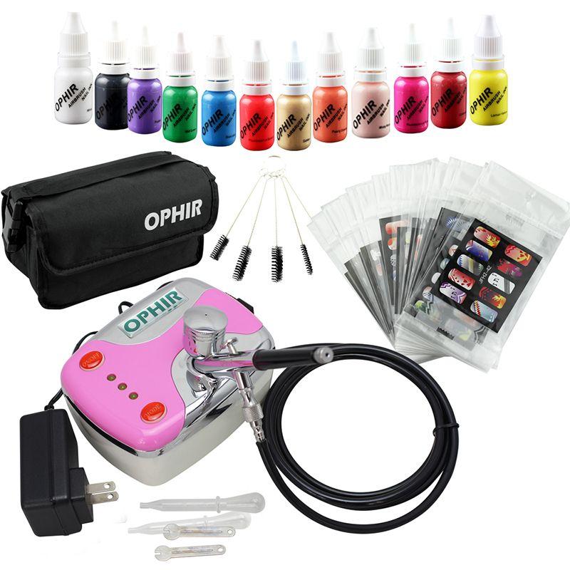 Kit d'aérographe à ongles OPHIR 0.3mm avec compresseur d'air 12 encres à ongles 20x pochoirs et sac d'art d'ongle et brosse de nettoyage Tools_OP-NA001P à ongles