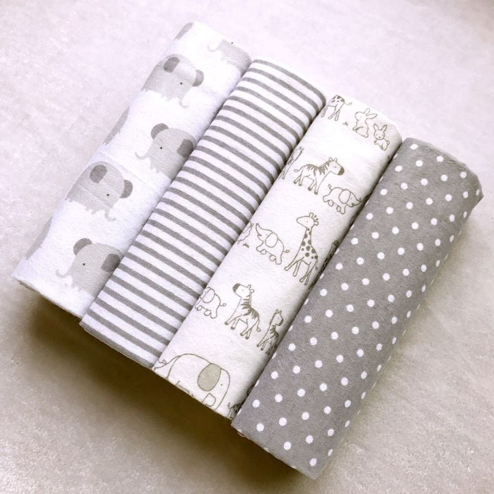 High Quality <font><b>4PCS</b></font>/PACK 100% Cotton Supersoft Flannel Receiving Baby Blanket Swaddle Baby Bedsheet 76*76CM Baby Blankets Newborn