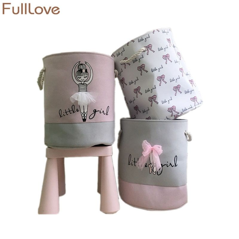 FullLove 35*<font><b>40cm</b></font> Pink Laundry Basket for Dirty Clothes Cotton Ballet Girl Bow Print Toys Organizer Home Storage & Organization