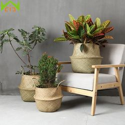 WCIC Garden Plant Flower Pot Handmade Rattan Storage Basket Foldable Seagrass Straw Hanging Woven Handle Toy Storage Container