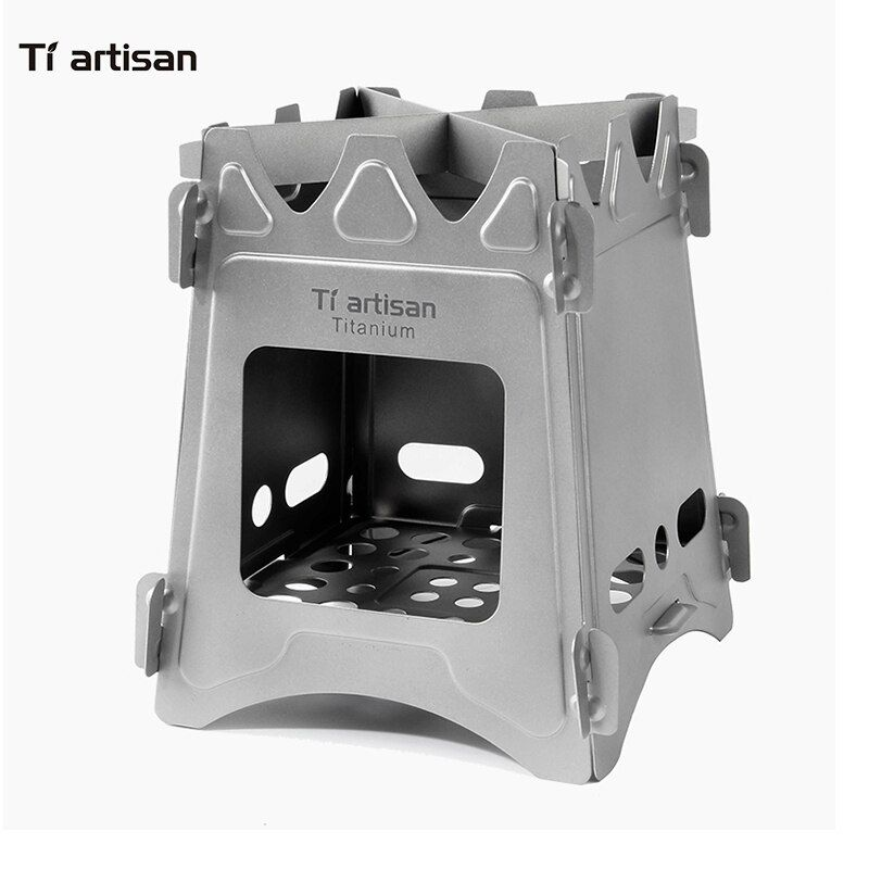 Tiartisan Ultralight Titanium Wood Stove Outdoor Camping Multi-Fuels Alcohol Stove BBQ Stove WS009STTi