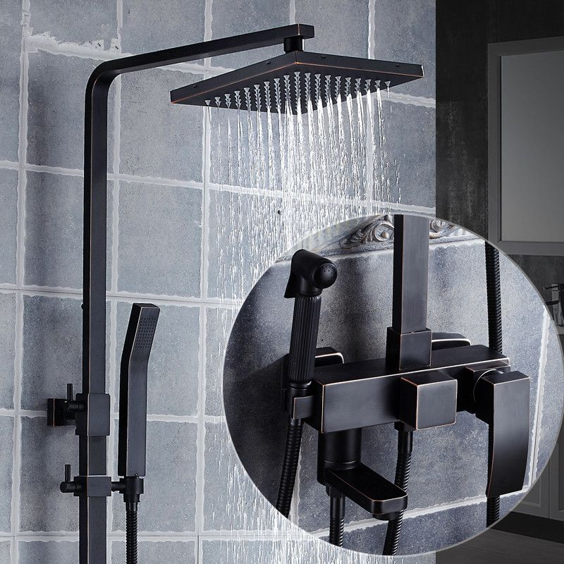 European Style Black Shower Set Wall Mounted 8