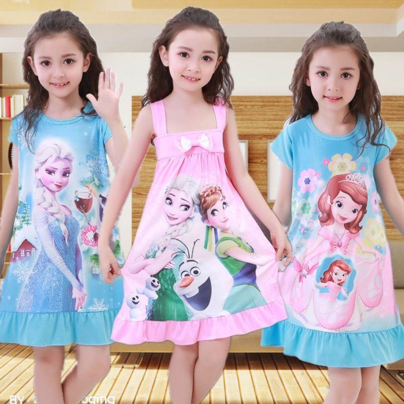 Summer Girls Dress Snow Queen Anna Elsa Olaf Princess Dresses for Girls Birthday Party Clothes Snow White Dress Kids Sleepwear