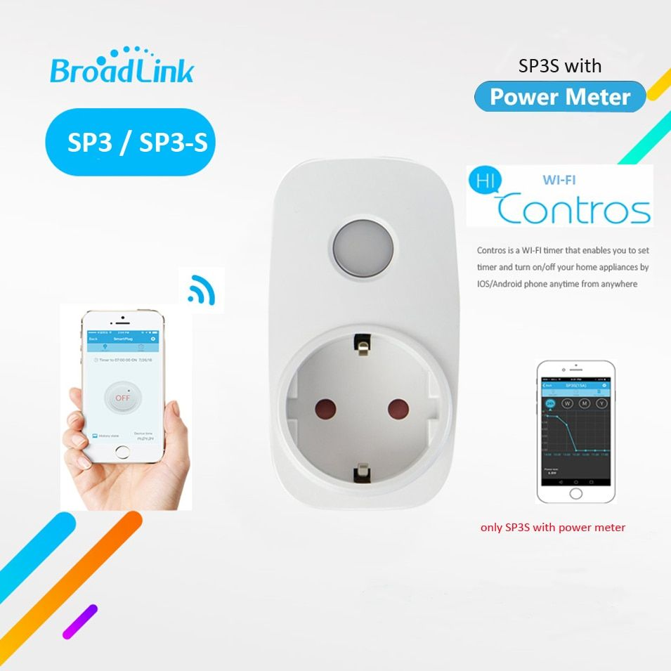 <font><b>Broadlink</b></font> SP3S w Power Meter / SP3 Contros EU Wireless WiFi Smart Socket Timer Power Plug 16A IOS Android Remote Control Outlet