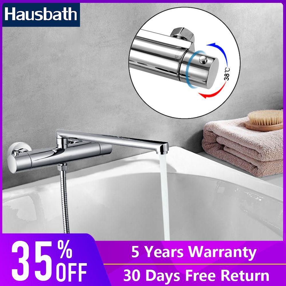 Thermostat Wasserhahn Badewanne Tap Lange Gerade Auslauf Anti-skaliert Ventil Körper Bad Wasser Saving Dual Loch