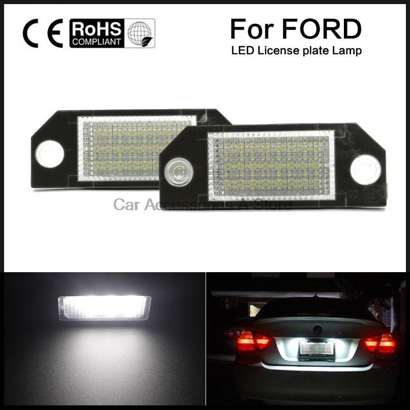 2 pcs Voiture LED Plaque D'immatriculation Lampe de Lumière Blanche pour Ford Focus 2 C-max