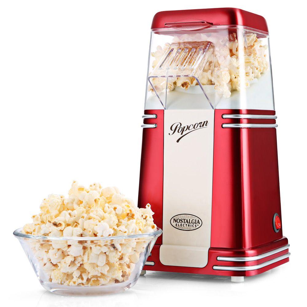 NOSTALGIA ELECTRICS Hot Air Popcorn Maker Corn Popper Machine with Transparent Housing