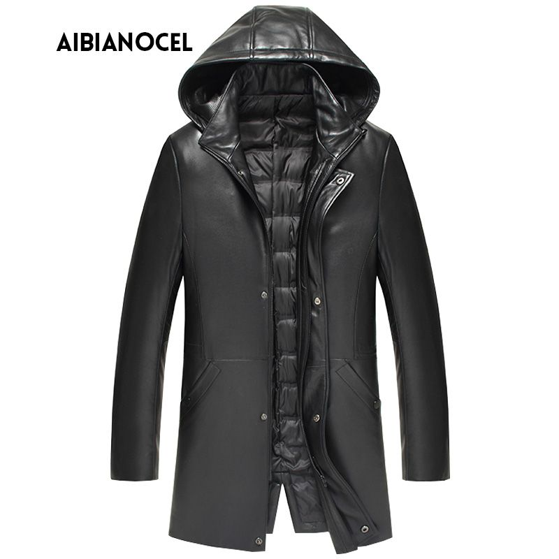 New Luxury Style Leather Coat Men Duck Down Leather Jacket Thick Mens Sheepskin Leather Jacket Real Leather Jacket Hooded Men