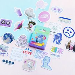 Vapour Wave Dream Stickers Set Decorative Stationery Stickers Scrapbooking DIY Diary Album Stick Lable