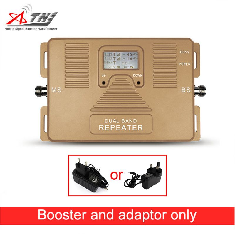Offre spéciale! Amplificateur de signal mobile 2G 3G 4G 1800/2100 mhz répéteur de signal double bande avec écran LCD, uniquement booster + prise
