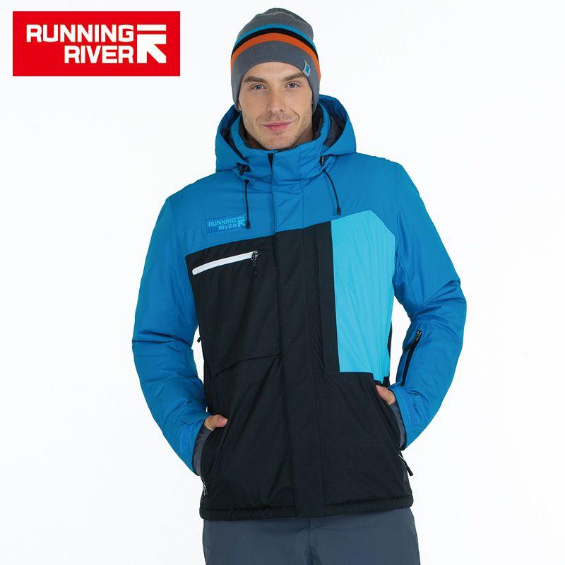 LAUF FLUSS Marke Männer Hohe Qualität Ski Jacke Winter Warm Mit Kapuze Sport Jacken Für Mann Professional Outdoor Kleidung # A6047