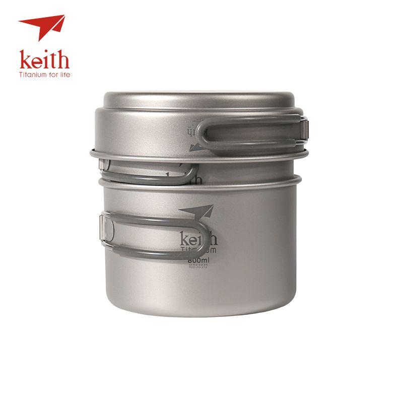 Keith Titane Casseroles Bols Avec Poignée Pliante Cuire Camping Randonnée Pique-Nique Ustensiles de batterie de cuisine