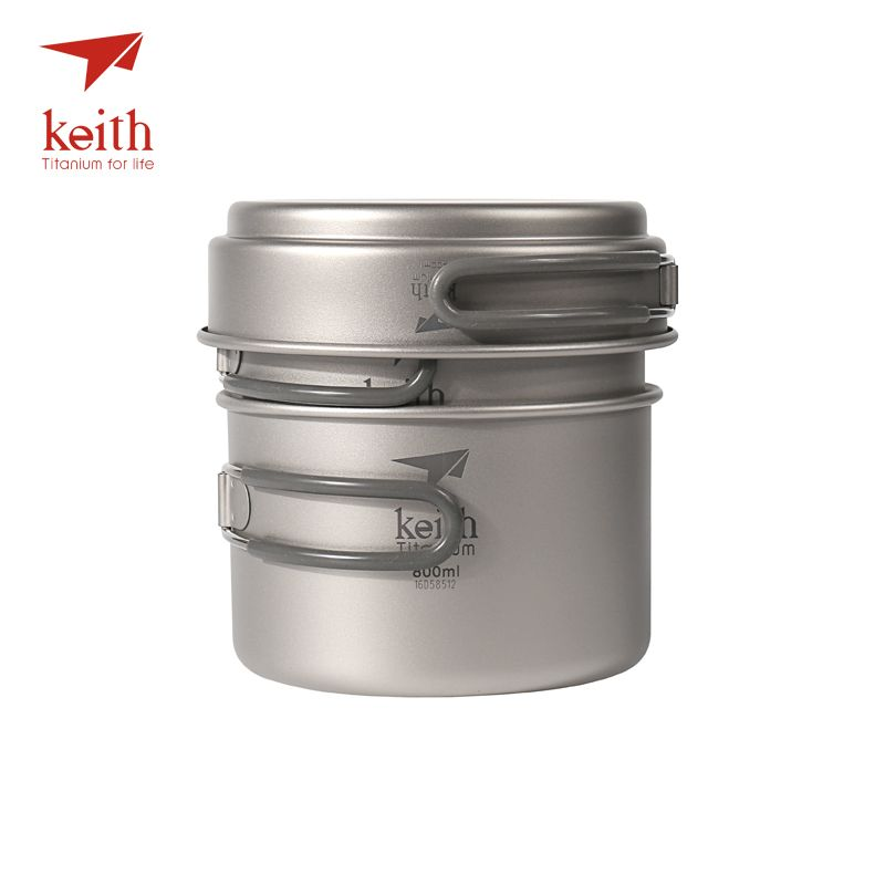 Keith casseroles en titane bols avec poignée pliante cuisinière Camping randonnée pique-nique ustensiles de cuisine