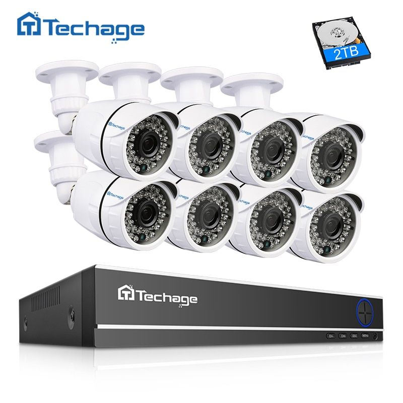 Techage 16CH HDMI 1080N DVR CCTV System 8PCS 2.0MP 1080P IR Outdoor Waterproof Security AHD Camera P2P Video Surveillance Kit