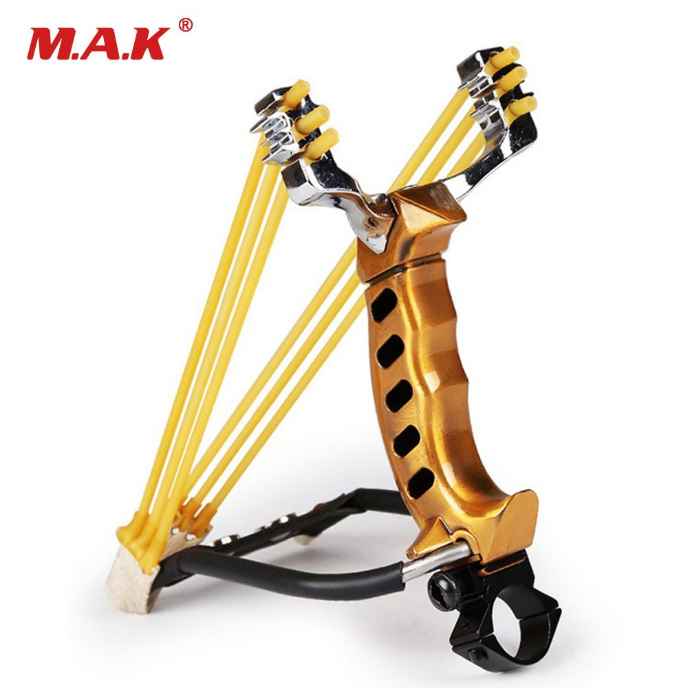 Slingshot with High 210mm Aluminum-magnesium Steel Alloy in Black/Golden 3 Slots for Outdoor Hunting Fishing