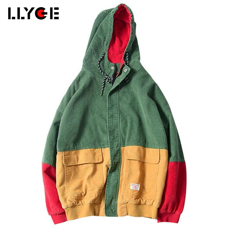 LLYGE 2018 Spring Color Block Patchwork Corduroy Hooded Jackets Hip Hop Hoodies Coats Casual Streetwear Outerwear Drop Shopping