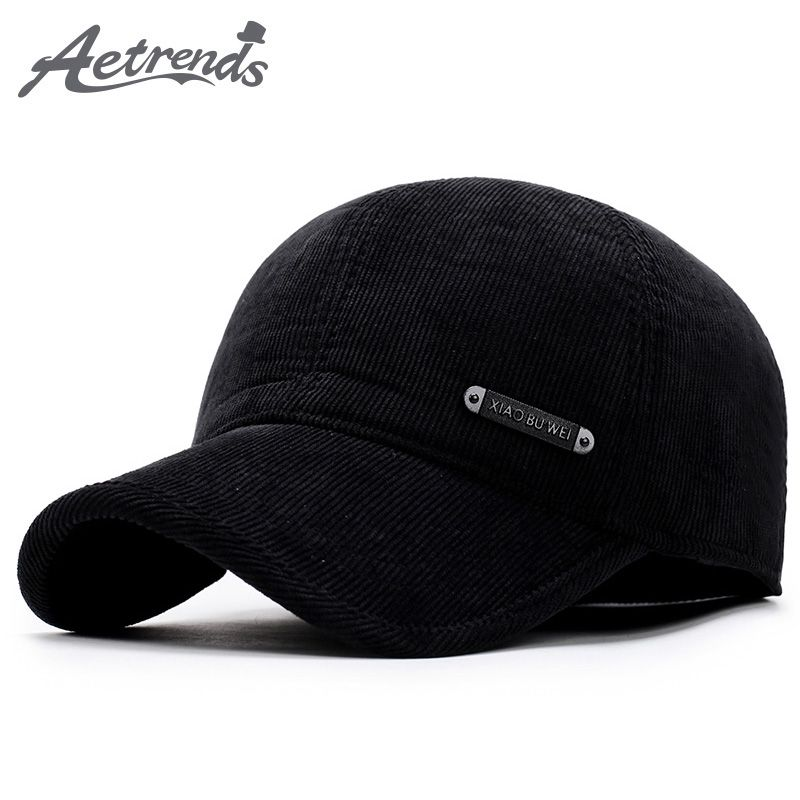 [AETRENDS] 2017 New Winter Baseball Cap Men Keep Warm Hats with Ear Flap Male Winter Caps Dad Hat Z-5922