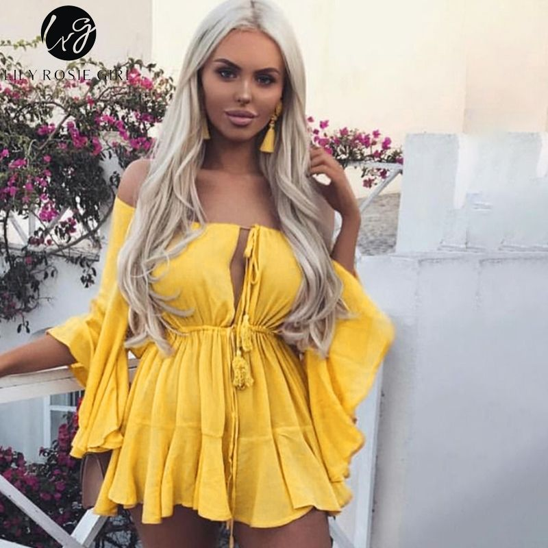 Lily Rosie Girl Off Shoulder Yellow Sexy Playsuits Women Big Flare Sleeve red Jumpsuits 2018 Beach Party Casual Lace Up Rompers