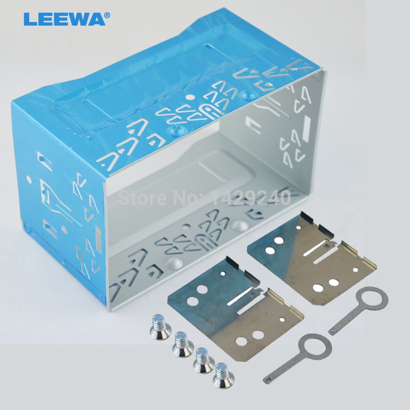 LEEWA car refitting dvd frame/front bezel/audio panel for ISO 2DIN Installation Cage  Metal Cage With Brackets/Screws/Keys